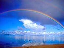 rainbow above beach hd wallpaper desktop background