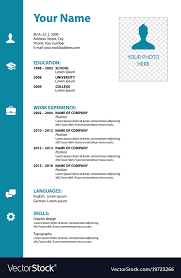 Color On Resume New Cv Resume Template In Blue Color Royalty Free Vector Image