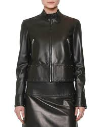 valentinostudded leather biker jacket black