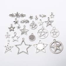 200pcs mixed star charms antique silver diy jewelry making pendant for fashion bracelet necklace earrings hlfl42863