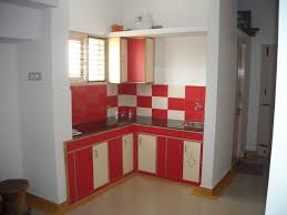 Pretty Red And White L Shape Mini Kitchen Design With Floating Storage Over  Flaoting Cabinets As Well As White Wall Painted Scheme As Decorate In Small  Room ...