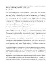 js mill essay on individuality to what extent does j s mill  this is the end of the preview sign up to access the rest of the document