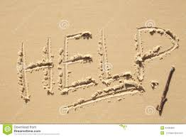 Help Sign On The Beach Stock Photo Image Of Written 43499890