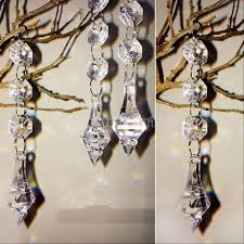 acrylic crystal beads garland chandelier hanging 14 mm bead chains drop pendant wedding props centerpiece tree