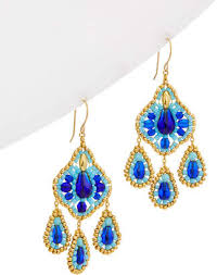 at gilt miguel ases 18k plated 14k fill beaded chandelier earrings