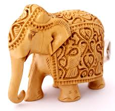 exquisite hand carved wooden indian royal elephant sculpture statue