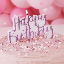 Pink Glitter Happy Birthday Cake Candle