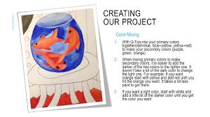 CREATING OUR PROJECT Color Mixing 1.With Q-Tips mix your primary colors  together