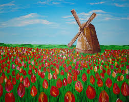 original acrylic abstract painting dutch holland netherlands windmill