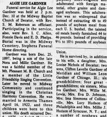 Obituary for ALGIE LEE GARDNER - Newspapers.com