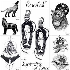 Baofuli нарисованная сова кит поддельные тату планеты временные татуировки наклейка