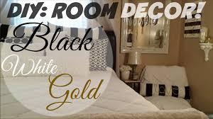 Black White Gold Bedroom Diy Room Decor Black White Gold Youtube