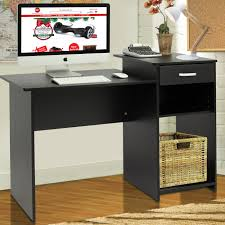 ... Desk, Amazing Black Student Desk Office Furniture With Black Table And  Hamper And Monitor And ...