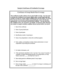 Sample Certificate Creditable Coverage Fill Online Printable