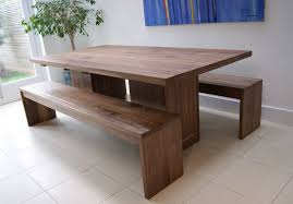 image of dining table with benches gus modern plank dining table bench regarding dining table