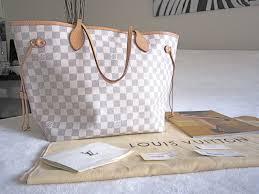 louis vuitton neverfull white. http://luxurylana.com/shop-3/louis-vuitton-damier-azur-neverfull -mm-tote-bag-excellent-tags-receipt/ louis vuitton neverfull white