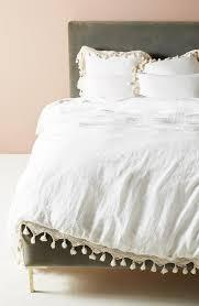 white cotton lace edge tassel trim duvet cover
