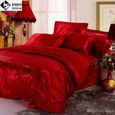 whole luxurious red bedding set wedding satin duvet quilt cover king queen size comforters bedlinen bedsheets silk cotton bedcover designer bedding sets