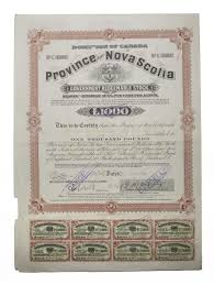 Stock Certificats Province Of Nova Scotia Government Redeemable Stock Certificates 3