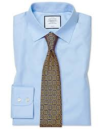 Slim Fit Sky Blue Non Iron Twill Cotton Formal Shirt Double Cuff By Charles Tyrwhitt