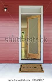 Great Open Front Door Illustration with Open Front Door Stock Images