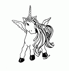 Unicorn Pegasus Coloring Pages With Rainbow Only Home Printable
