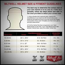 Biltwell Bonanza Helmet Size Chart