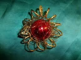 Details Zu Alter Christbaumschmuck Kugel Rot Gold Draht Goldspirale Vintage Weihnachten Cbs