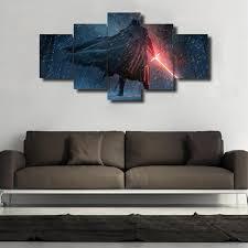 star wars kylo ren 5 panel framed canvas art geek bling on panel wall art star wars with star wars kylo ren 5 panel framed canvas art geek bling