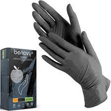 <b>Перчатки нитриловые</b> текстурированные на пальцах <b>BENOVY</b> ...