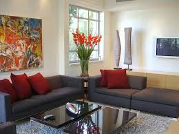 top red living room casual. Mesmerize Urban Living Room Decorating Ideas: Impressive Design With Modern Grey Sofa And Two Black Glass Top Coffee Table Also Rug Red Casual