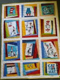 Free pattern for Cat in the Hat quilt. Love the border of red and ... & Dr.Suess cot quilt www.facebook.com/KATNAPquilts Adamdwight.com