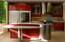 Red And Grey Kitchen Designs Red Lacquer Kitchen Cabinets Monsterlune