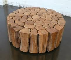 interior round wood coffee table rustic