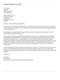 Facilitator Resume Cover Letter Bfcc