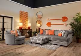 orange living room furniture. The Application Of Orange And Cool Grey In This Living Room Set Compliments Contemporary Aesthetic Furniture R