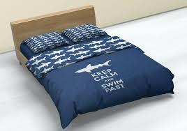 electric blue duvet cover shark theme covers king ikea full size