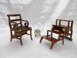 mini doll furniture. Miniature 1:12 Scale Library Steps Chair [Finished In Walnut] Mini Doll Furniture