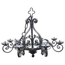 french rustic wrought iron art 8 light castle chandelier