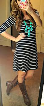 striped dress boots turquoise statement necklace fashion fall outfits fashion dresses
