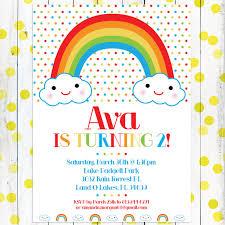 Children Birthday Invitations Personalized Kids Birthday Invitation Happy Little Rainbow