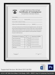 Certificate Of Compliance Template Word Certificate Of Compliance Template 12 Word Pdf Psd Ai