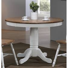 modern two tone brown and white round dining table pacifica rc willey furniture