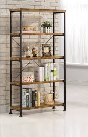 Furniture. Lacquered Hickory Wood Bookshelves With Modern Black Iron Frame.  Gorgeous Metal And Wood