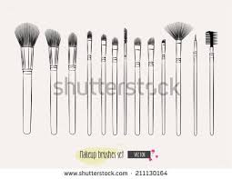 makeup brushes hand drawn vector set