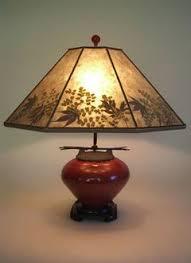 Asian Red Raku Fetish Pot Mini Table Lamp, Mica Lamp shade with