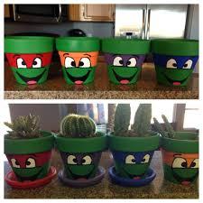 paint flower pots to look like teenage mutant ninja turtles diy for life