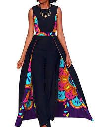 Traditional Jumpsuit Designs Womens Long Jumpsuit Elegant Sleeveless Plus Size African