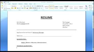 How To Make Resume In Ms Word 1080 Player