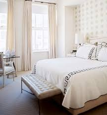 white chic bedroom furniture. Foxy White Chic Bedroom Decoration Using All Grey Pattern  Wallpaper Including Rectangular Tufted Cream Leather Bench And Light White Chic Bedroom Furniture H